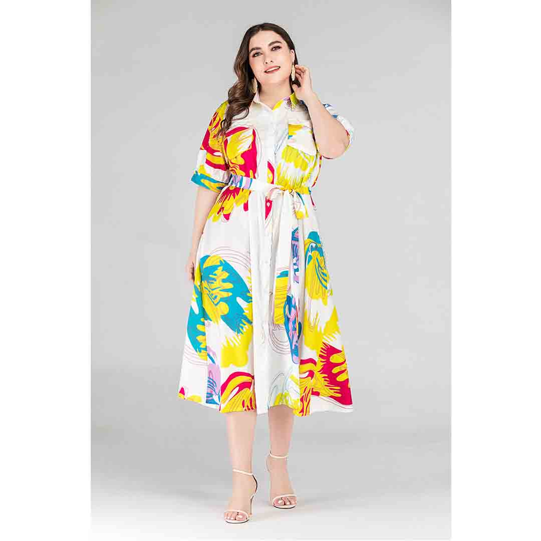 Midi A Line Work Multi Color Plus Size Printed Shirt Dress with Belt
