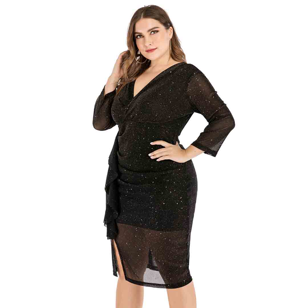 Plus Size Black Sheer Bodycon Shining Party Cocktail Dress