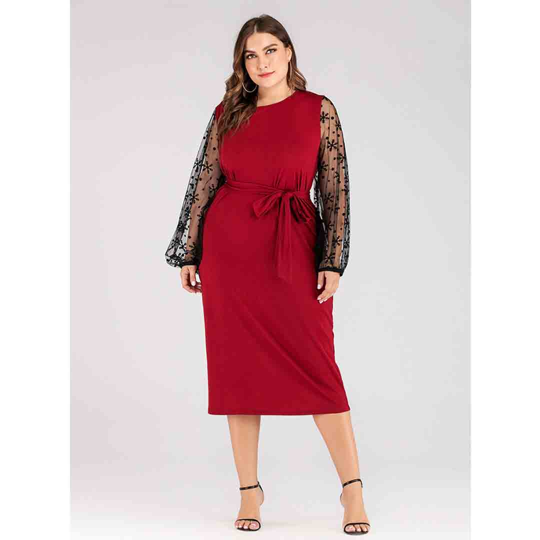 Plus Size Red Mesh Insert Long Puff Sleeve Semi Formal