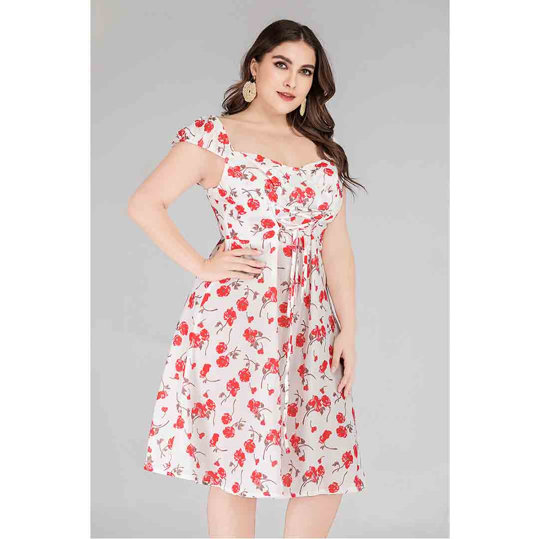 Plus Size White Floral Corset Smocked A Line Casual Summer