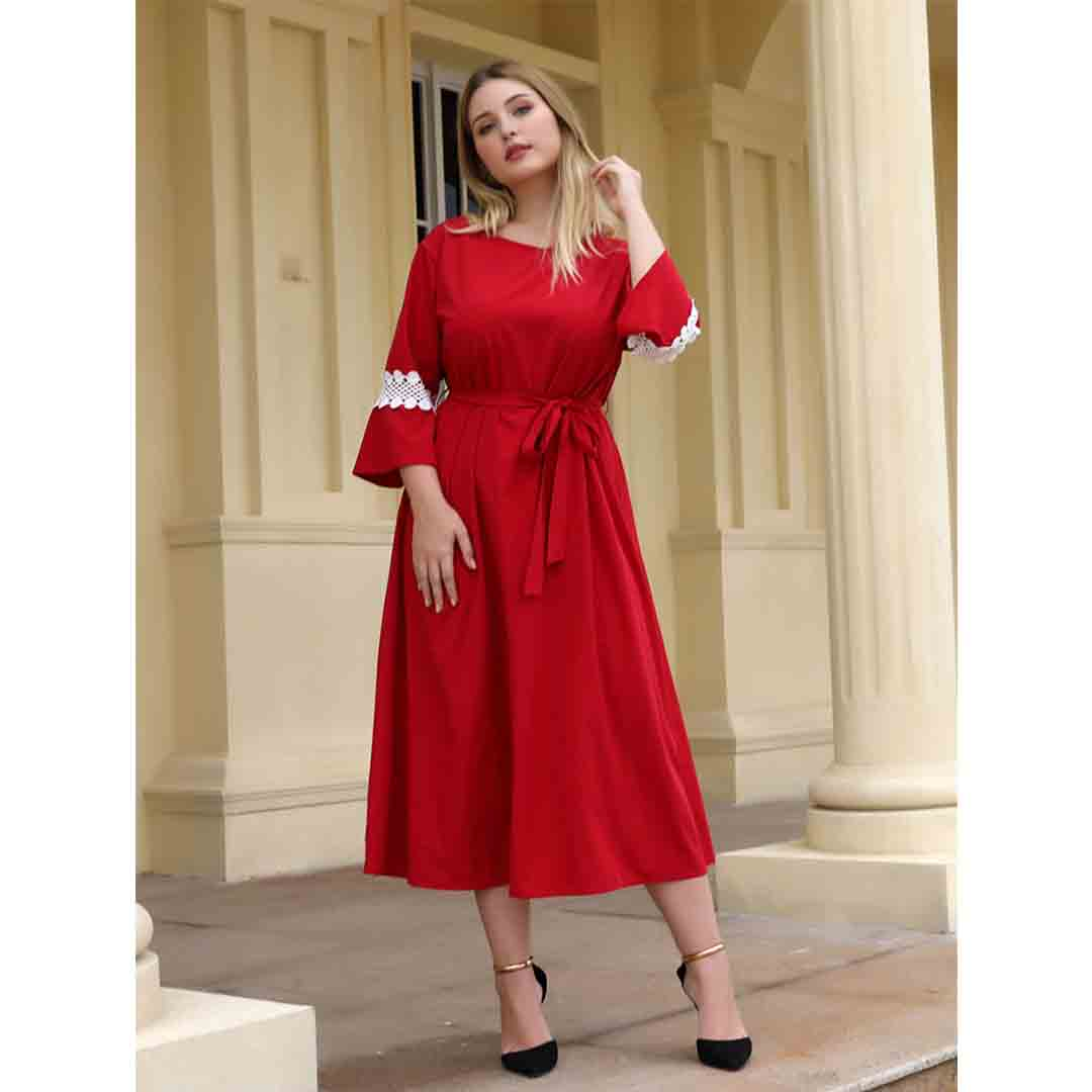 Red Bell Sleeve Casual Going Out A Line Plus Size Midi Dress