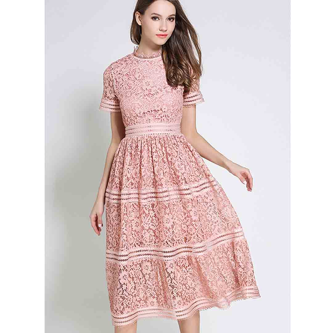 Lace Wedding Guest Dresses: Midi Floral Tiered Party Cocktail Vintage Lace Wedding